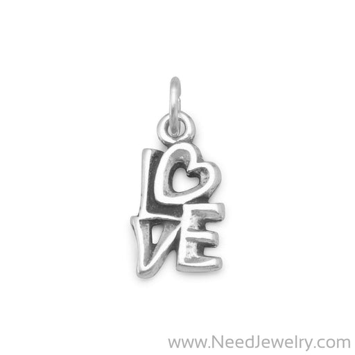 "Oxidized ""LOVE"" Charm-Charms-Needjewelry.com"