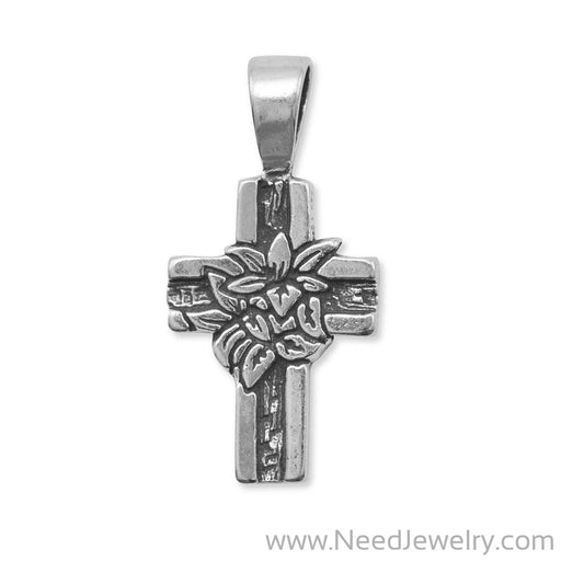 Oxidized Cross Pendant with Lilies-Charms-Needjewelry.com