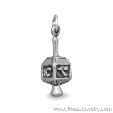 Oxidized Dreidel Charm-Charms-Needjewelry.com