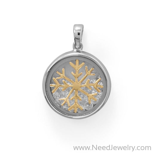 Two Tone Dancing CZ's Snowflake Pendant-Pendants-Needjewelry.com