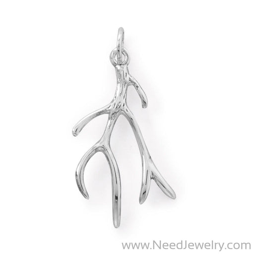 Rhodium Plated Polished Antler Design Pendant-Pendants-Needjewelry.com