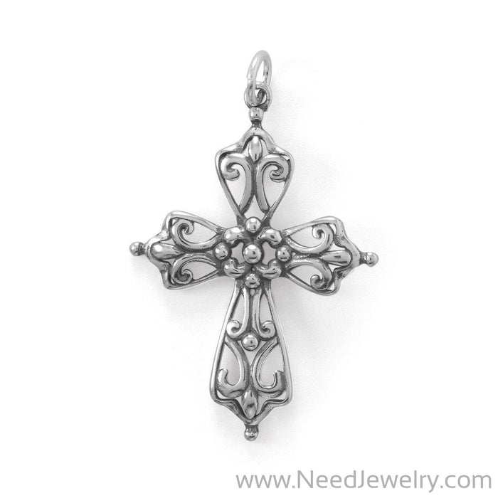 Oxidized Ornate Cross Pendant-Pendants-Needjewelry.com