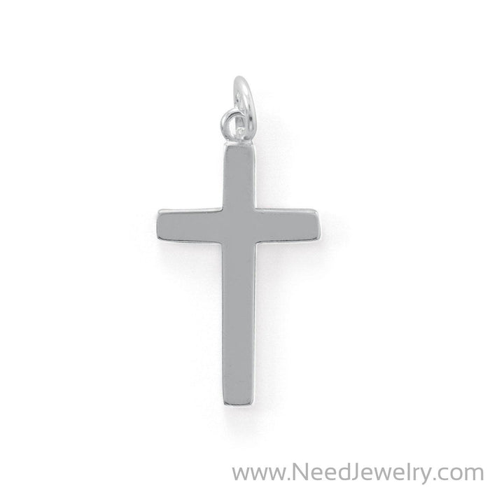 Medium Polished Cross Charm-Pendants-Needjewelry.com
