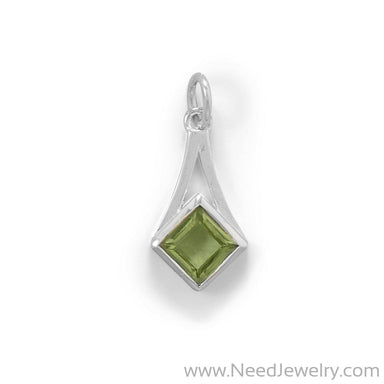 Sterling Silver Faceted Peridot Pendant-Pendants-Needjewelry.com