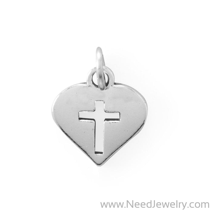 Cutout Cross in Heart Charm-Charms-Needjewelry.com