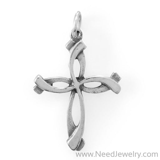 Oxidized Overlap Design Cross-Charms-Needjewelry.com