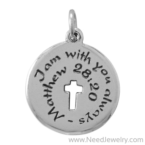 """I am with you always"" Oxidized Charm-Charms-Needjewelry.com"