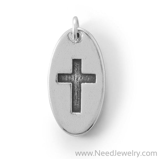Oval Charm with Oxidized Cross-Charms-Needjewelry.com