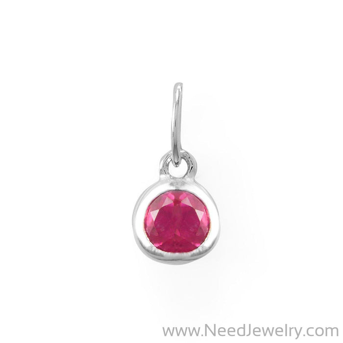 Round CZ July Birthstone Charm-Charms-Needjewelry.com