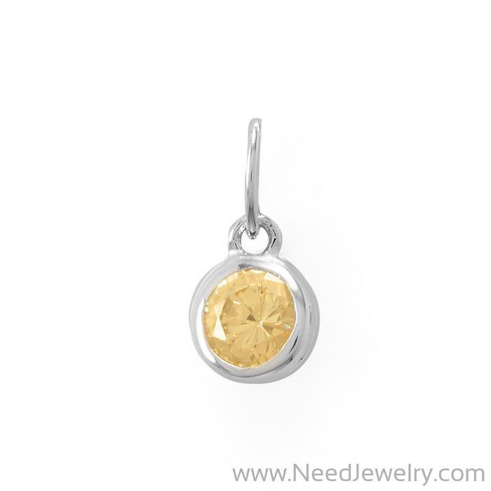 Round CZ November Birthstone Charm-Charms-Needjewelry.com