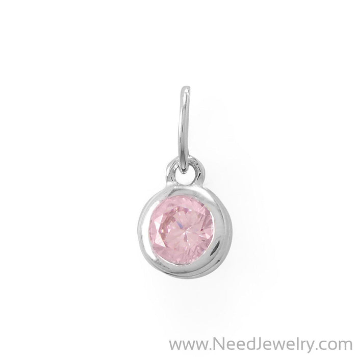 Round CZ October Birthstone Charm-Charms-Needjewelry.com