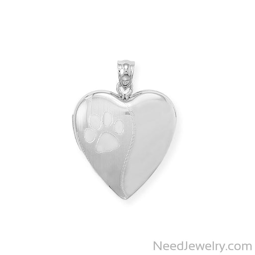 Item # [sku} - Paw Print Heart Memory Keeper Locket on NeedJewelry.com