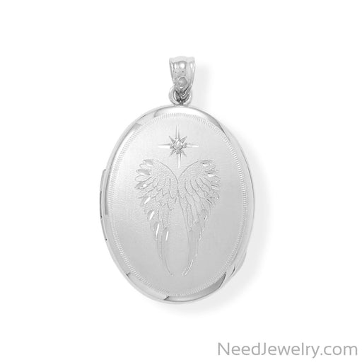 Item # [sku} - Oval Angel Wings Memory Keeper Locket with Diamond on NeedJewelry.com
