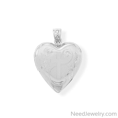 Item # [sku} - Heart Memory Keeper Locket with Cross on NeedJewelry.com