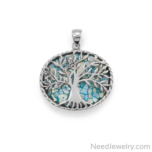 Item # [sku} - Oxidized Roman Glass Tree of Life Pendant on NeedJewelry.com