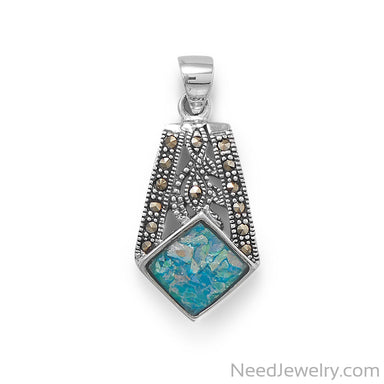 Item # [sku} - Oxidized Marcasite and Roman Glass Pendant on NeedJewelry.com