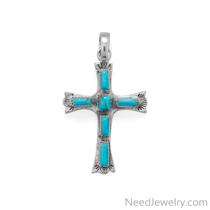 Item # [sku} - Oxidized Cross with Rectangle Turquoise Pendant on NeedJewelry.com