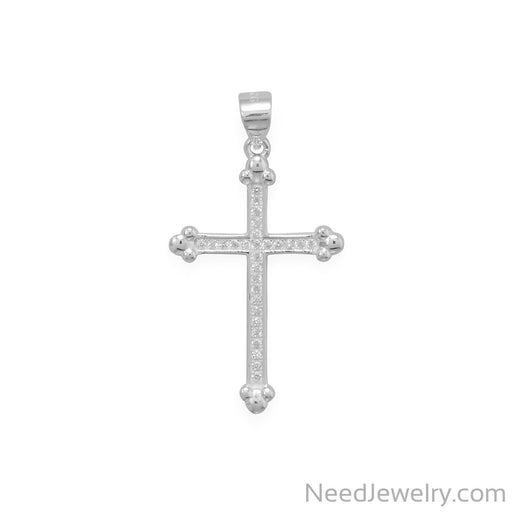 Item # [sku} - CZ Cross Pendant with Fleuree Ends on NeedJewelry.com