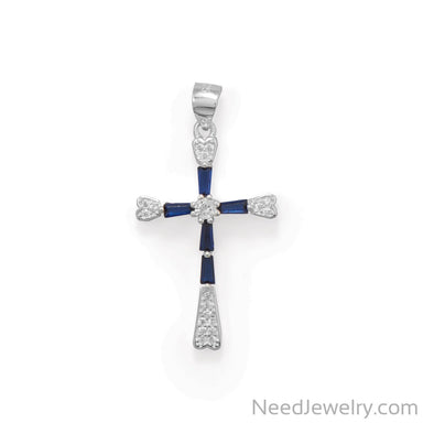 Item # [sku} - Rhodium Plated Blue CZ Cross Pendant on NeedJewelry.com