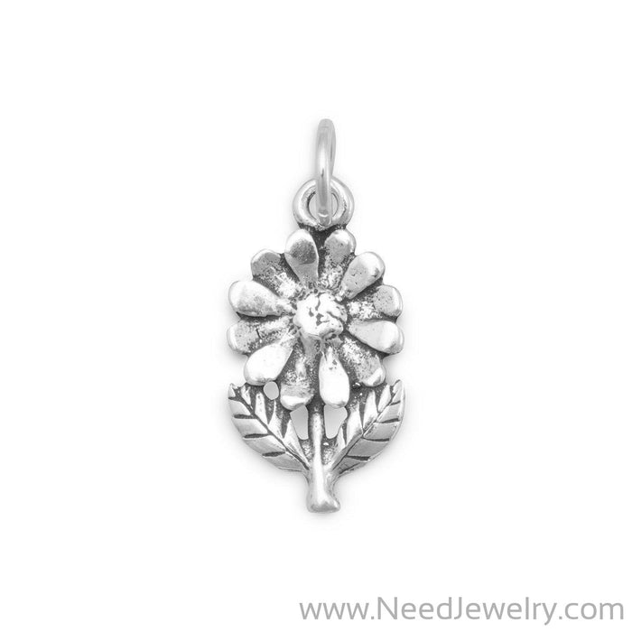 Flower with Stem/Leaves Charm-Charms-Needjewelry.com