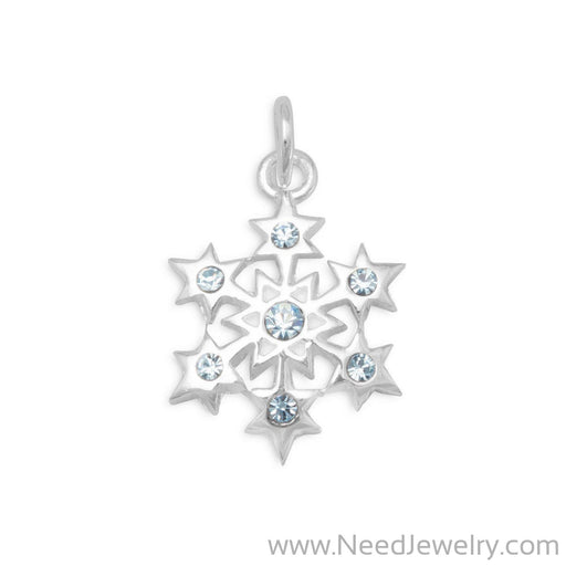 Small Aqua Crystal Snowflake Charm-Charms-Needjewelry.com