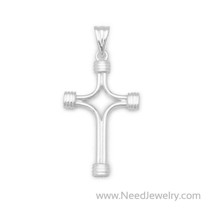 Polished Cross with Wrapped Ends-Pendants-Needjewelry.com