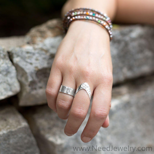 8mm Hammered Band Ring-Rings-Needjewelry.com