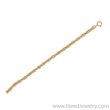 "9""+1"" 14/20 Gold Filled Rope Chain Anklet-Chains-Needjewelry.com"