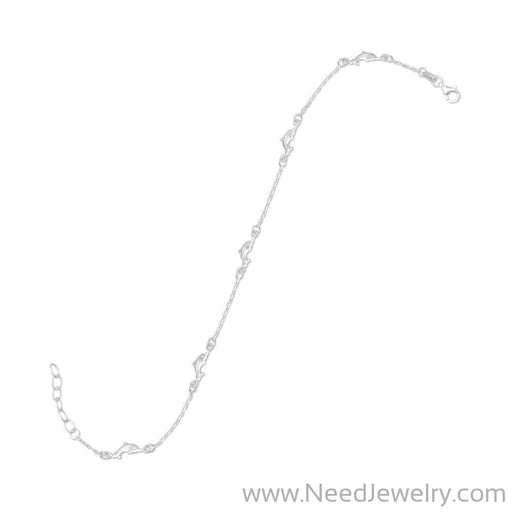 "9"" + 1"" Dolphin Anklet-Body jewelry-Needjewelry.com"