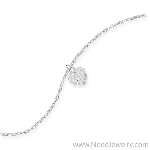 "9"" + 1"" Crystal Heart Charm Anklet-Body jewelry-Needjewelry.com"