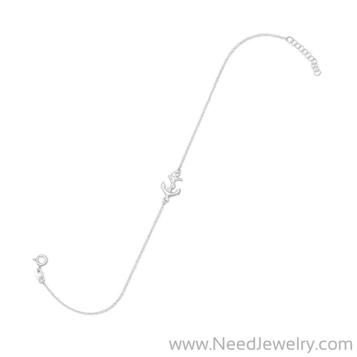 "9"" + 1"" Sideways Anchor Anklet-Body jewelry-Needjewelry.com"
