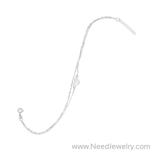 "9"" + 1"" Double Strand Heart Anklet-Body jewelry-Needjewelry.com"