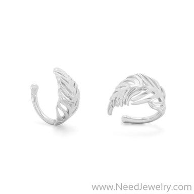 Rhodium Plated Feather Ear Cuffs-Earrings-Needjewelry.com