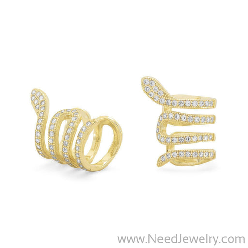 14 Karat Gold Plated Snake Ear Cuffs with Signity CZs-Earrings-Needjewelry.com