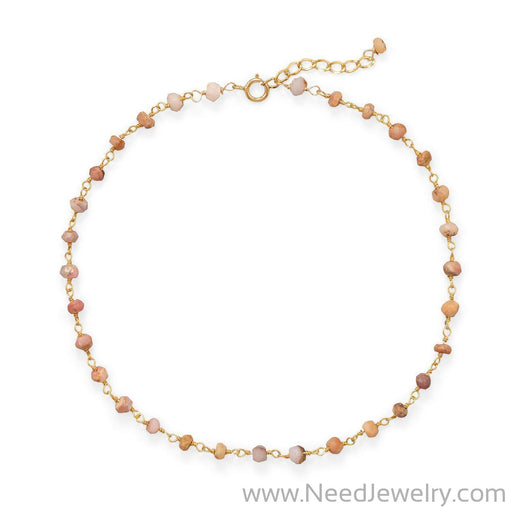 Pretty In Pink! Pink Opal 14 Karat Gold Plated Anklet-Bodyjewelry-Needjewelry.com