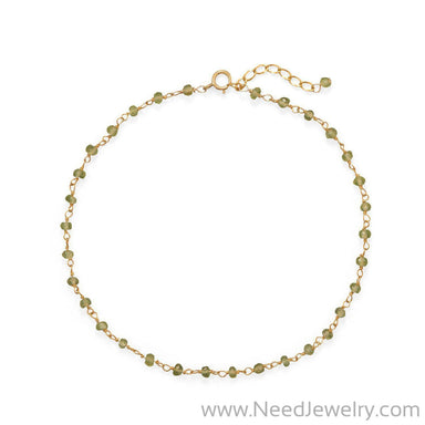 Fresh Look! Peridot 14 Karat Gold Plated Anklet-Bodyjewelry-Needjewelry.com