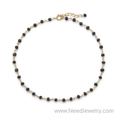 Midnight Sparkle! 14 Karat Gold Plated Black Spinel Anklet-Bodyjewelry-Needjewelry.com