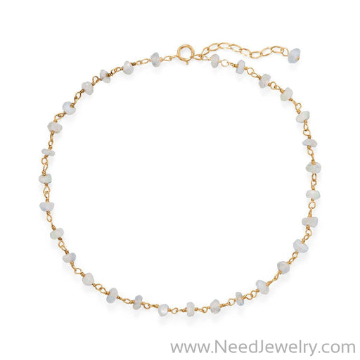 Moonlight Glow! 14 Karat Gold Plated Rainbow Moonstone Anklet-Bodyjewelry-Needjewelry.com