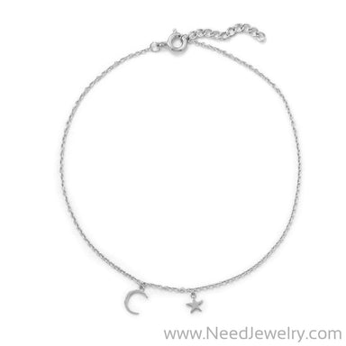 Summer Night Rhodium Plated Anklet-Bodyjewelry-Needjewelry.com