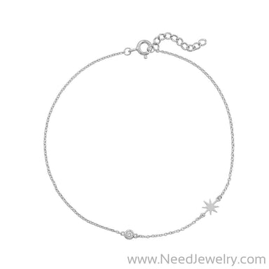 Pedi Perfect! Rhodium Plated Starburst Anklet-Bodyjewelry-Needjewelry.com