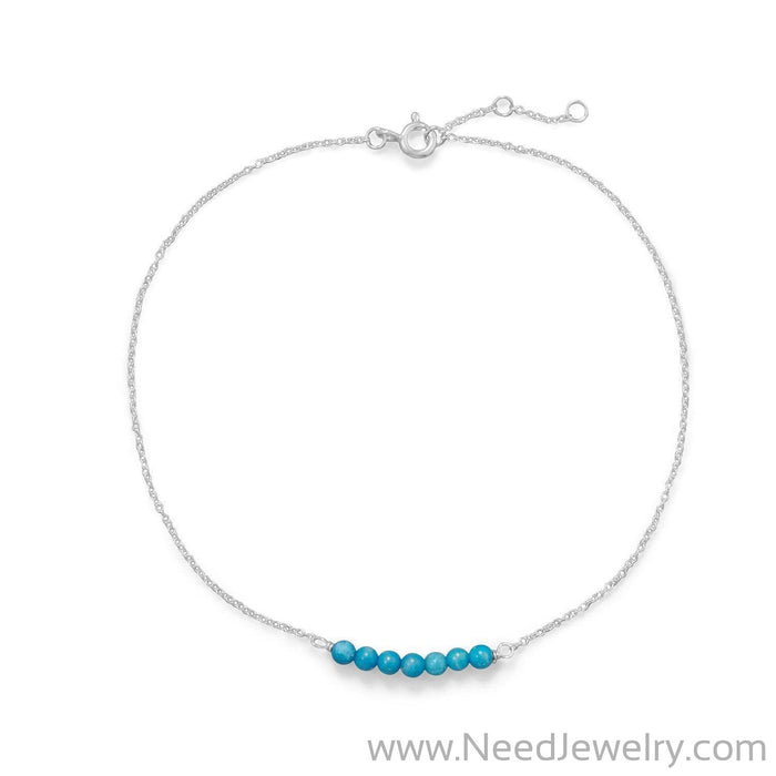 Blue Howlite Bead Bar Anklet-Bodyjewelry-Needjewelry.com