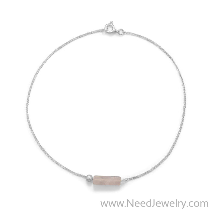 "9.25"" Rose Quartz Tube Anklet-Body jewelry-Needjewelry.com"