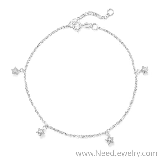 "9""+1"" Polished 5 Star Charm Anklet-Body jewelry-Needjewelry.com"