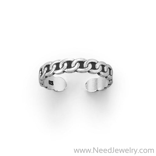 Thin Oxidized Curb Link Design Toe Ring-Bodyjewelry-Needjewelry.com