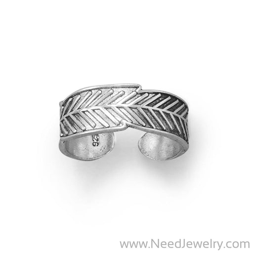 Oxidized Feather Toe Ring-Body jewelry-Needjewelry.com