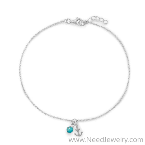 "9.25""+.75"" Anchor and Turquoise Anklet-Bodyjewelry-Needjewelry.com"