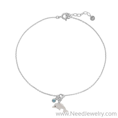 "9.5""+1"" Dolphin and Crystal Anklet-Bodyjewelry-Needjewelry.com"