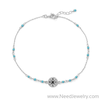 "9.25""+.75"" Blue Beaded Anklet with Compass Charm-Bodyjewelry-Needjewelry.com"