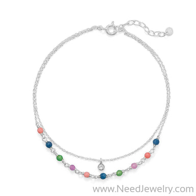"9""+1"" Multi Color Jade and CZ Double Strand Anklet-Bodyjewelry-Needjewelry.com"