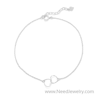 "9""+1"" Twisted Wire Hearts Anklet-Bodyjewelry-Needjewelry.com"